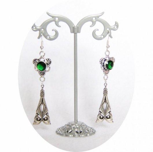 Boucles d'oreilles rétro baroque vert avec pampille art déco argentée