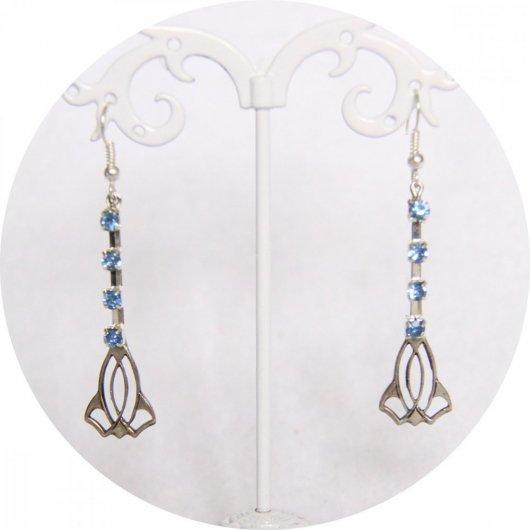 Boucles d'oreilles rétro art déco bleues avec pampille argentée