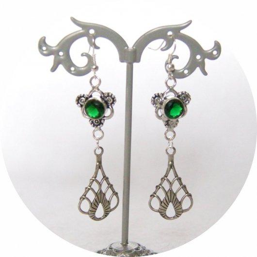 Boucles d'oreilles rétro art déco vert avec pampille art déco argentée