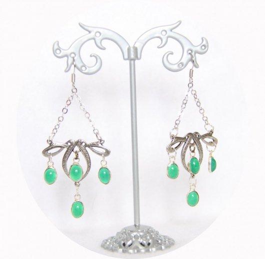 Boucles d'oreilles rétro art nouveau argent avec pampilles vertes