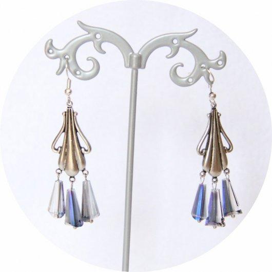 Boucles d'oreilles rétro Art Nouveau bleues goutte cristal pampille art nouveau argentée