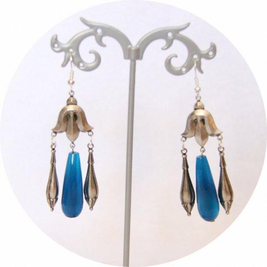 Boucles d'oreilles rétro Art Nouveau bleues goutte facetée turquoise et pampille art nouveau argentée