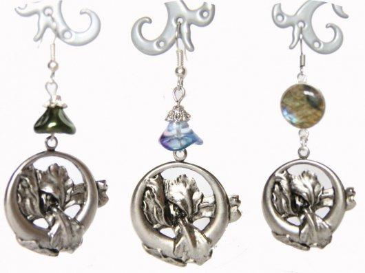 Boucles d'oreilles rétro art nouveau argent Iris