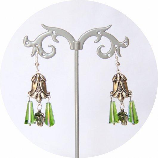 Boucles d'oreilles rétro Art Nouveau vertes goutte cristal pampille art nouveau tulipe argentée