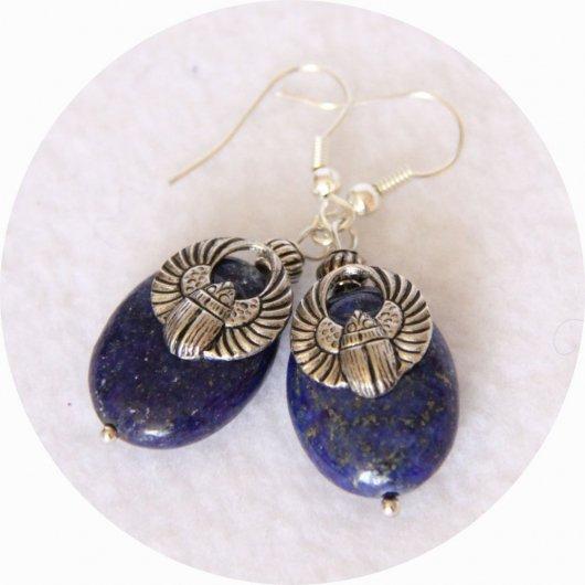 Boucles d'oreilles Scarabée argent bleu en lapis lazuli