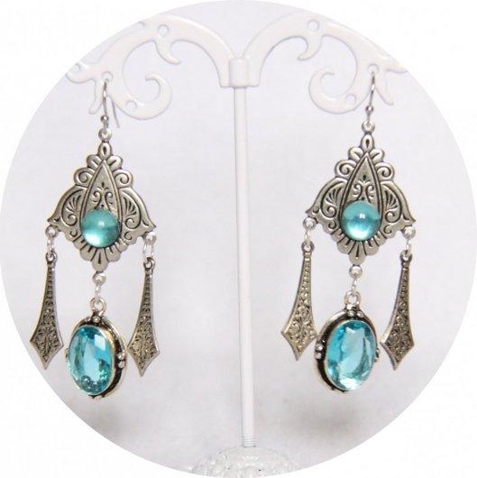 Boucles d'oreilles Shéhérazade bleues avec pampille argentées
