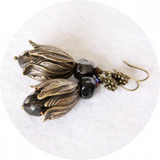 Boucles d'oreilles tulipe perroquet noir et bronze