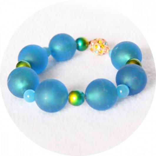 Bracelet à grosses perles de verre bleu turquoise