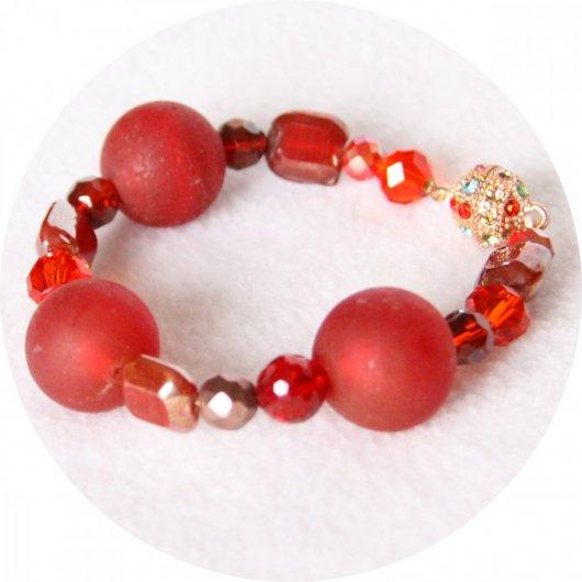Bracelet à grosses perles de verre silver foil rouge