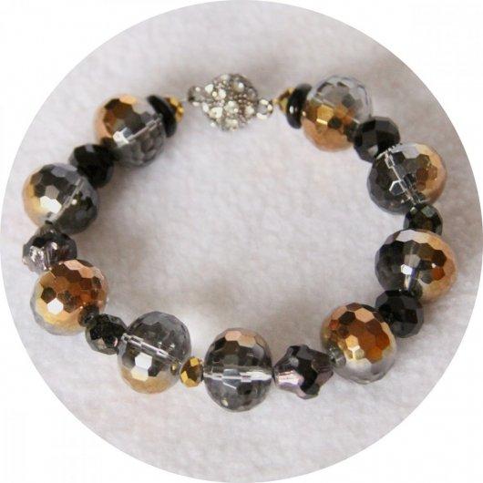 Bracelet noir argent et cuivre en perles