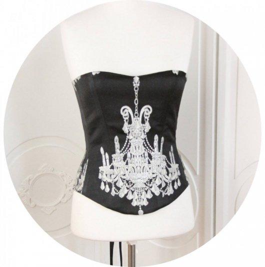Bustier- corset Baroque, motif argent sur fond noir, bustier baroque noir et argent,corset baroque noir et argent,chandelier argent, lacage