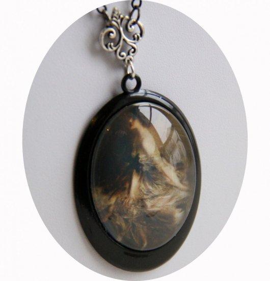 Collier médaillon portrait ancien Belle Epoque