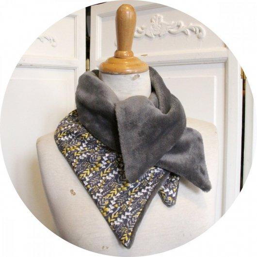 Col tour de cou gris et jaune en coton imprimé et doublure polaire grise