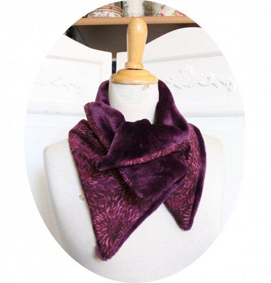 Col tour de cou violet et mauve en batik et fourrure polaire violet