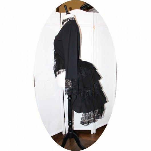 Demi tournure 'faux-cul' ou 'bustle' Steampunk Victorienne en velours noir et dentelle noire