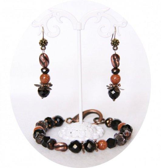 Ensemble bracelet et boucles d'oreilles en perles noires et cuivre