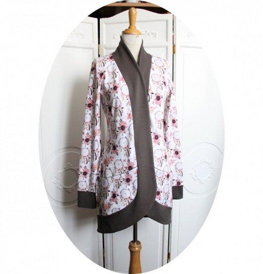 Gilet très long à poches en jersey de coton blanc  Attrape Rêve