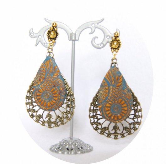 Grandes boucles d'oreilles légères goutte bleu azur et bronze