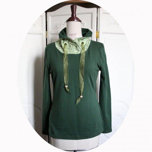 Haut sweatshirt col montant en molleton vert uni et col en coton vert pomme à arabesques