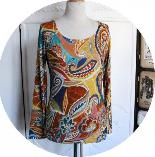 Haut tshirt coloré ton ocre à manches longues en jersey de viscose