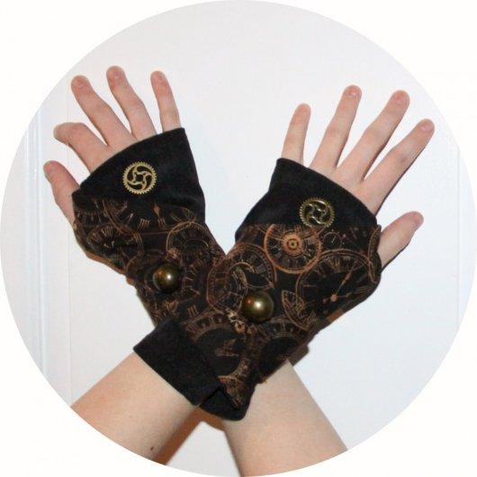 Manchettes mitaines en velours noir et coton noir et bronze horloges steampunk