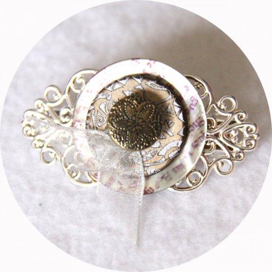 Petite barrette boutons nacre bronze et argent longueur 5cm