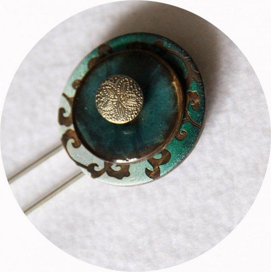 Pic à cheveux boutons turquoise, vert et argent