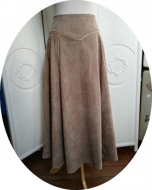 RESERVE - Jupe longue et évasée en velours beige