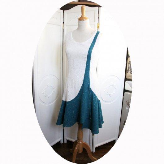 Robe courte style années 20 en coton double gaze pailletée dorée