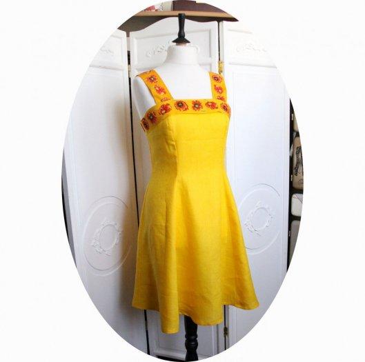Robe pur lin jaune aec bandeau et bretelles coquelicot rouge