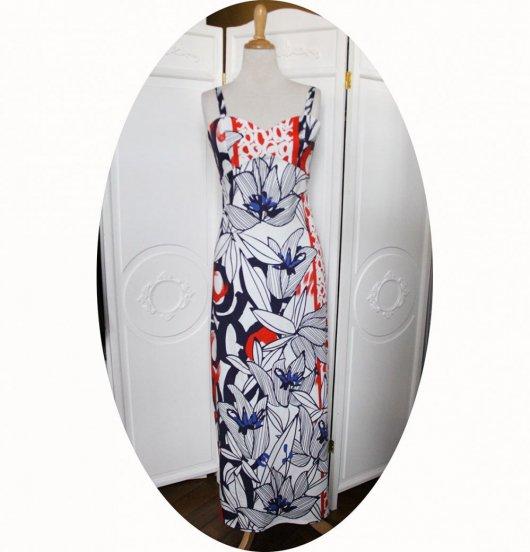 Robe longue taille haute à bretelles en satin de coton bleu marine et rouge