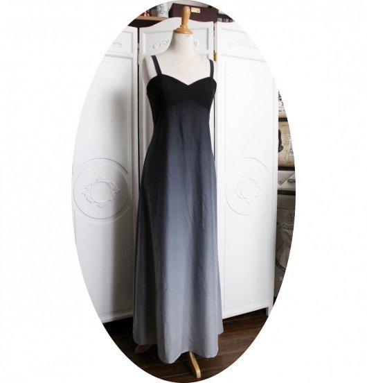 Robe longue taille haute en dégradé de noir et gris