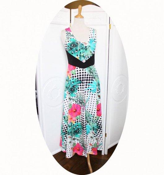 Robe longue taille haute en jersey de coton blanc à pois noirs et motif floral