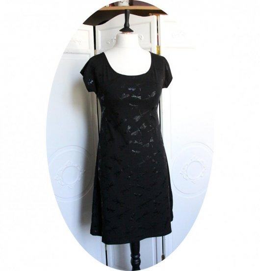 Robe noire courte trapeze Libellule en jersey noir et dentelle noire