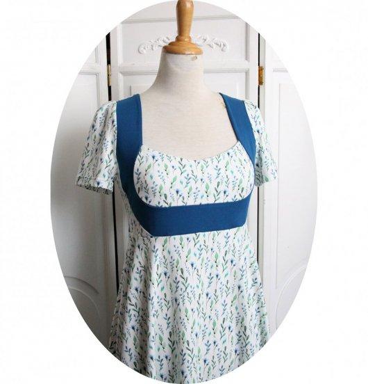 Robe taille Empire en jersey coton blanc imrimé fleurs bleues