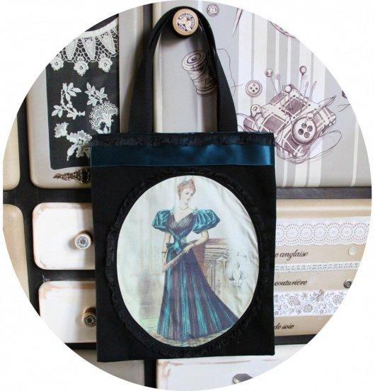 Sac Tote bag noir Gravure de Mode robe bleu vert et ruban ancien