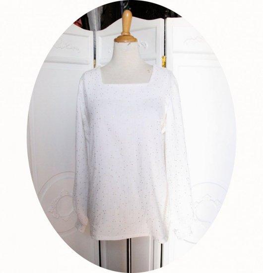 Tunique souple à manches longues en double gaze de coton blanc à pois dorés