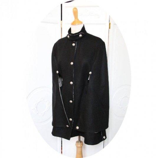 Veste cape rétro dolman victorien en laine noire doublure coton vintage