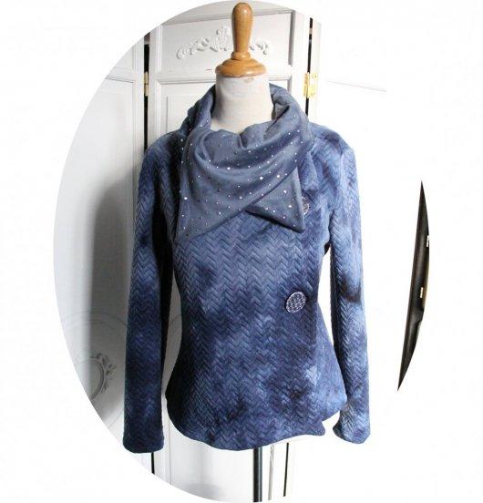 Veste croisée bleue jean à grand col en velours bleu et argent