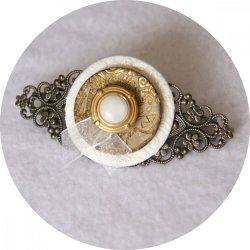 Barrette boutons ivoire doré et bronze longueur 8cm