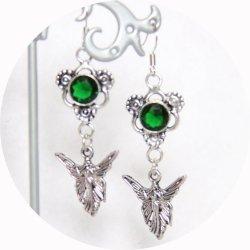 Boucles d'oreilles fée argent et cristal vert