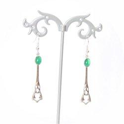 Boucles d'oreilles rétro art déco vertes avec pampille art déco argentée