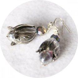 Boucles d'oreilles tulipe perroquet argent et cristal transparent