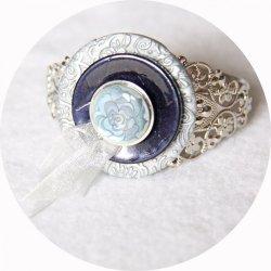 Bracelet rigide boutons baroque bleu et argent