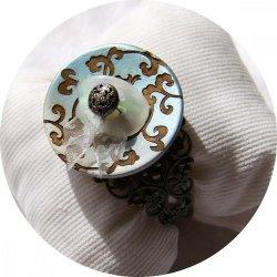 Bracelet rigide boutons baroque bleu et bronze