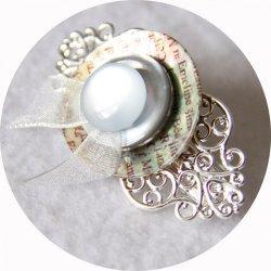 Petite barrette boutons nacre gris et argent longueur 5cm