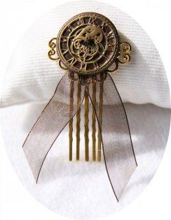 Pic peigne à cheveux Steampunk bronze et doré