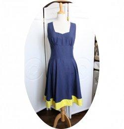 Robe d'été bleu marine et jaune esprit Pin Up avec une jupe évasée