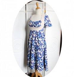 Robe taille Empire en jersey coton bleu imrimé de papillons