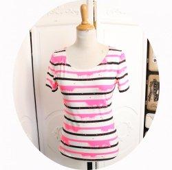 Top P'tit Basique tshirt marinière manches courtes à rayures noires et roses fluo effet taches sur fond blanc